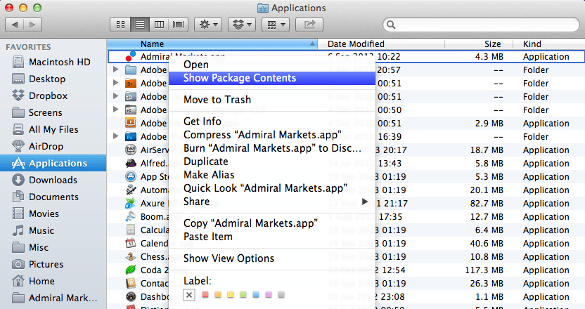 Installing EAs and Scripts for MetaTrader 4 on Mac OS X: Show Package Contents