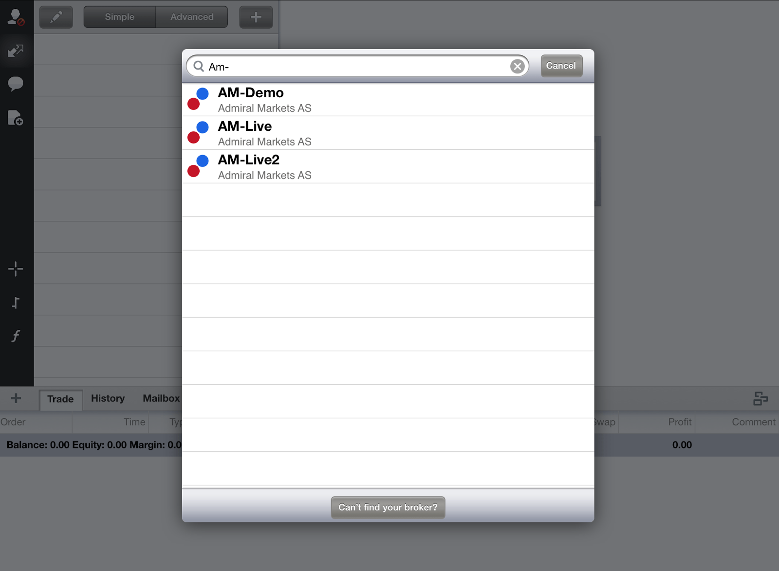 MT4 para iPad: encontrar o seu broker