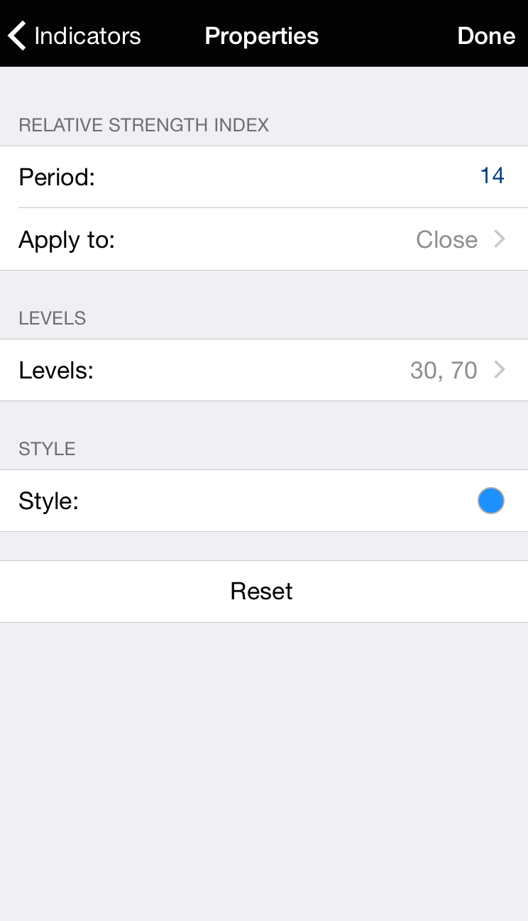 MT4 for iPhone: Properties screen