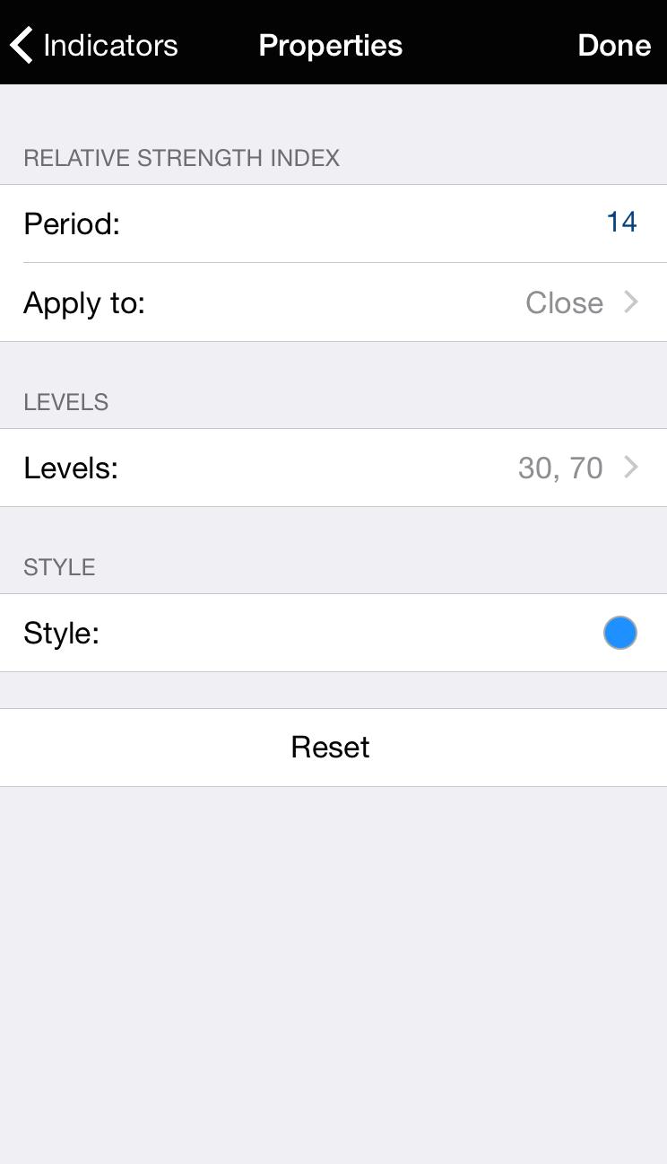 MT4 pro iPhone: Nastavení obrazovky
