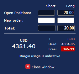 Pending orders window